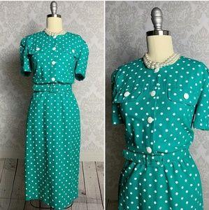 Vintage polka dot teal dress